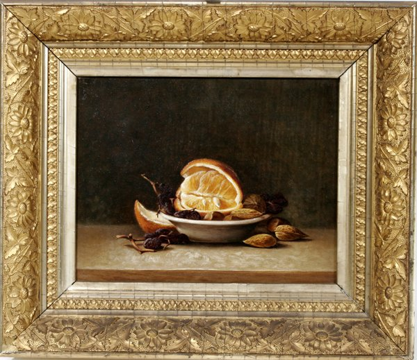 122296: AMERICAN OIL ON CANVAS, STILL LIFE FRUIT, NUTS