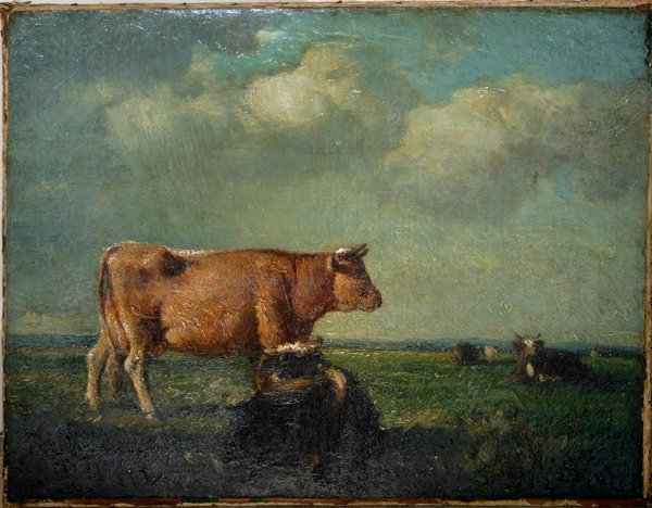 122297: C.T., OIL ON CANVAS, COWS IN A LANDSCAPE