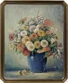 ARCHIE P. WIGLE, OIL ON BOARD, VASE W/ FLOWERS