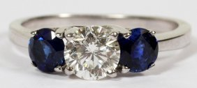 Diamond & 1.04ct Natural Blue Sapphire Ring