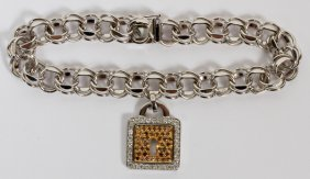 1ct Diamond 14kt & 18kt White Gold Charm Bracelet