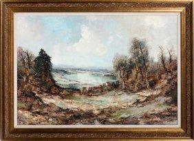 Willi Bauer Oil On Canvas Village Landscape