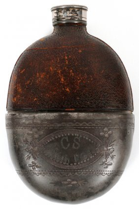 Confederate Civil War Glass, Pewter & Leather Flask
