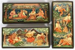 RUSSIAN HAND PAINTED BLACK LACQUER BOXES C2000