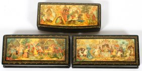 Russian Hand Painted Black Lacquer Boxes