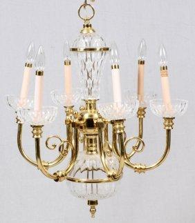 Six - Light Brass And Glass Chandelier