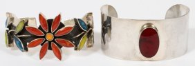 Mexican Sterling Silver Cuff Bracelets 2 Pcs.