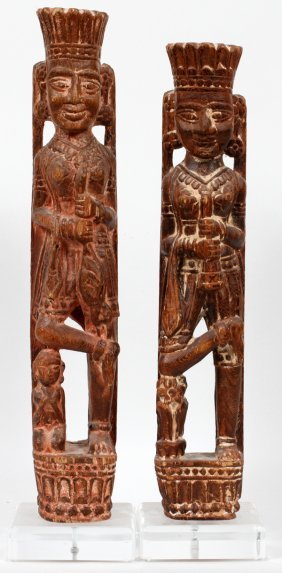 Central American Carved Wood Figures Pair