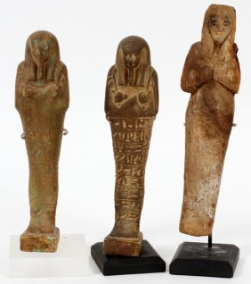 Egyptian Stone & Wood Figures Three