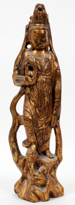 Carved Gilt Wood Standing Figure Of A Quan Yin