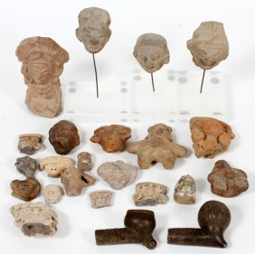 Pre-columbian Terracotta Face Figures & Pipes