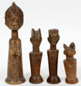 African Carved Wood Figures 4 Pcs.