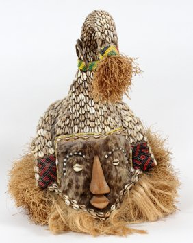 African Raffia Fur & Shell Mask