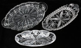 Cut & Pressed Glass Trays Early 20th C. Three