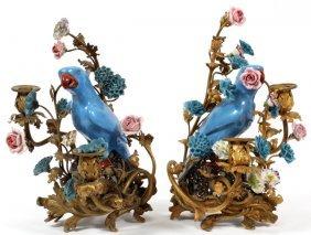 Franco-chinese Bronze & Porcelain Candelabra