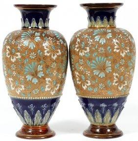 Doulton Burslem Chine Ware Pottery Vases C. 1900
