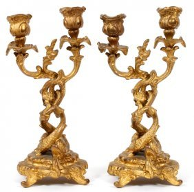 French Style Patinated Metal Candelabra