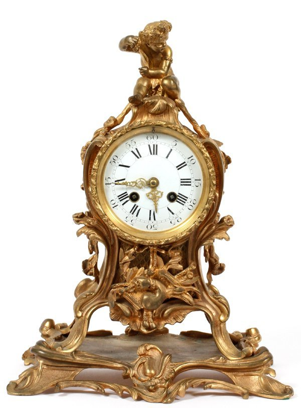 FRENCH ROCOCO STYLE BRONZE MANTEL CLOCK LATE 19THC.
