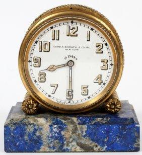 Swiss Bronze & Marble Desk Clock