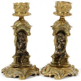 Continental Bronze Figural Candlesticks, Pair