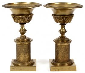 French Style Gilt Metal Tazze, Pair
