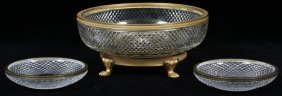 French Crystal Bowl W/ Bronze Mounts