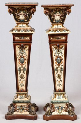 Attrib. To Rorstrand Majolica Pottery Pedestals