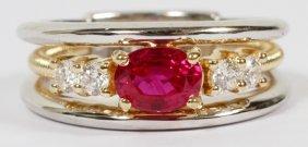 Gia 1.02ct Burma Ruby & .28ct Diamonds Ring
