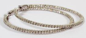 Natural Diamonds & White Gold Hoop Earrings, Pair