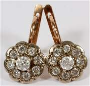 14KT YELLOW GOLD & DIAMOND CLUSTER DANGLE EARRINGS