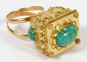 18kt Yellow Gold & Turquoise Poison Ring