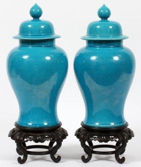 Glazed Turquoise Porcelain Covered Jars, Pair