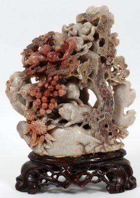 Chinese Carved Soapstone Animals & Foliage