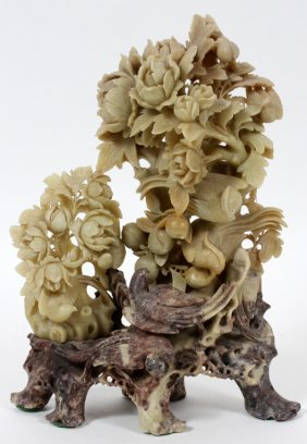 Chinese Carved Soapstone Bird Group