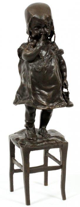 Juan Clara Bronze Sculpture Of Little Girl
