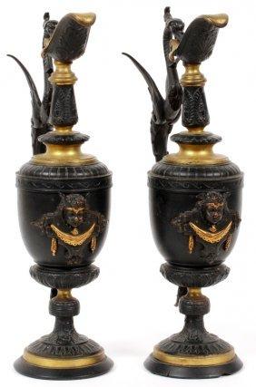 Neoclassical Patinated Metal Ewers C. 1880, Pair