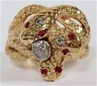 14KT YELLOW GOLD DIAMOND  RUBY RING