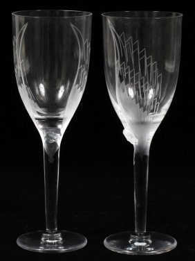 Lalique 'ange' Clear & Frosted Glass Champagnes Two