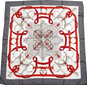 Hermes 'eperon D'or' Silk Scarf