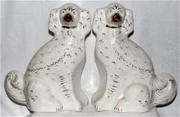 STAFFORDSHIRE DOGS 19TH C PAIR