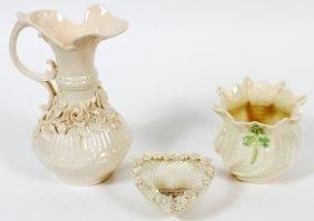 Belleek Porcelain Heart Basket Ewer & Vase