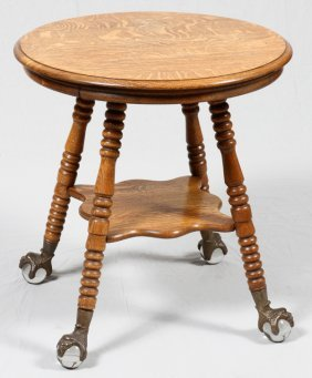 American Carved Oak Parlor Table