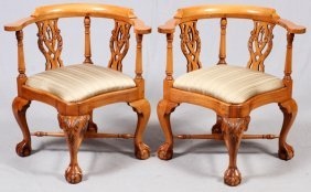 Chippendale Style Mahogany Corner Chairs, Pair
