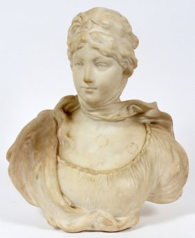 O. Scheggi Carved White Marble Bust Of Queen Louisa