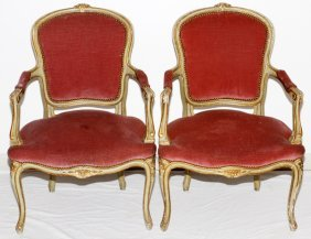 French Louis Xv Painted Wood Open Arm Chairs C.1900