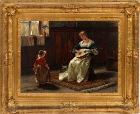Albert Friedrich Schroder Oil On Wood Panel 1887
