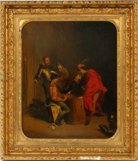 Oil On Tin 19th C. Five Cavaliers Playing Dice