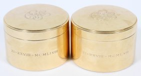 Tiffany & Co. 14kt Yellow Gold Powder Boxes, Pair
