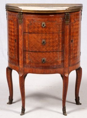 Louis Xv Style Marquetry & Pink Marble Demilune