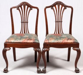 Chippendale Mahogany Side Chairs, Pair